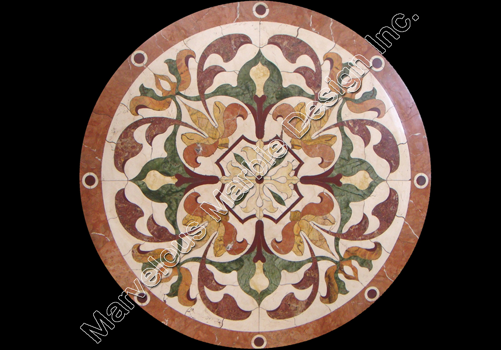 water jet cut marble floor design